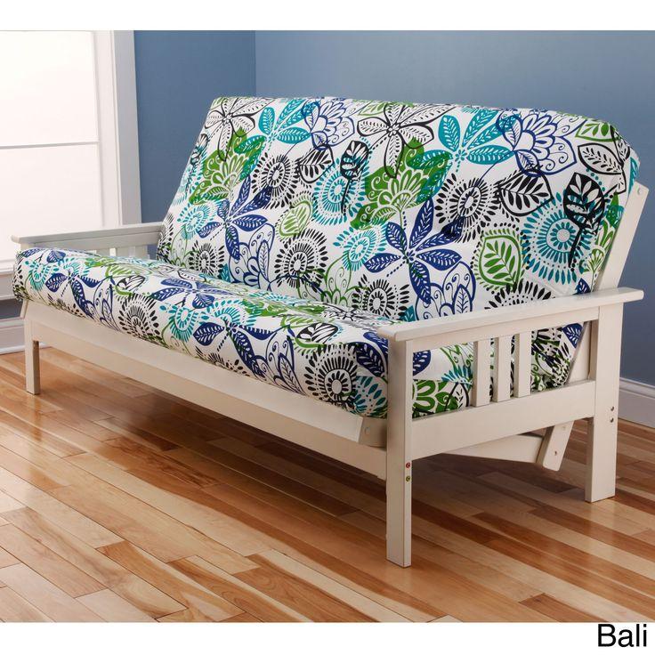 Somette Beli Mont Multi-Flex Antique White Wood Futon Frame with Innerspring Mattress (Bali), Size Full