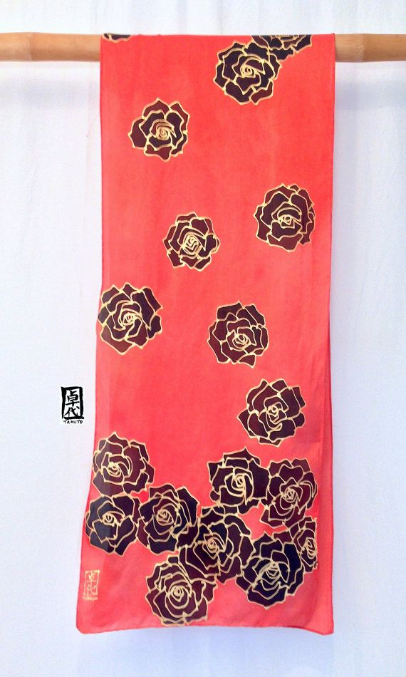 Handpainted Silk Scarf ETSY Red Silk Scarf by SilkScarvesTakuyo