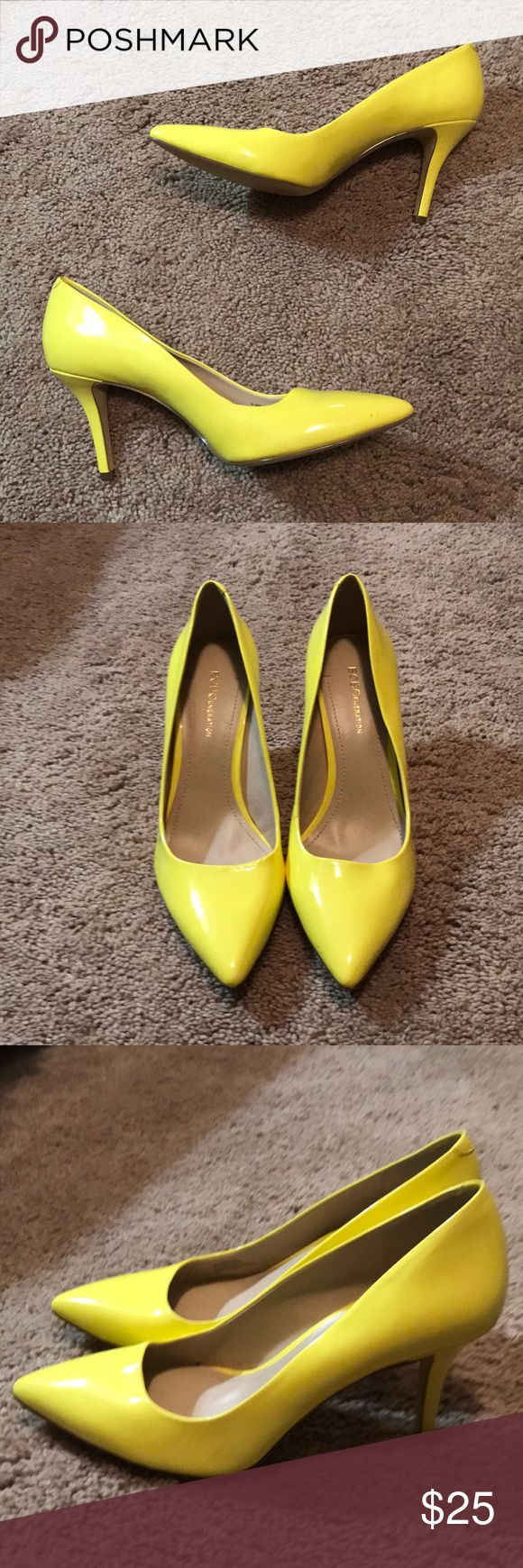 BCBG Gen Yellow pumps Adorable and funky yellow pumps. Great condition and worn maybe once ever indies. A few marks shown in pictures on toe and side. BCBGeneration Shoes Heels