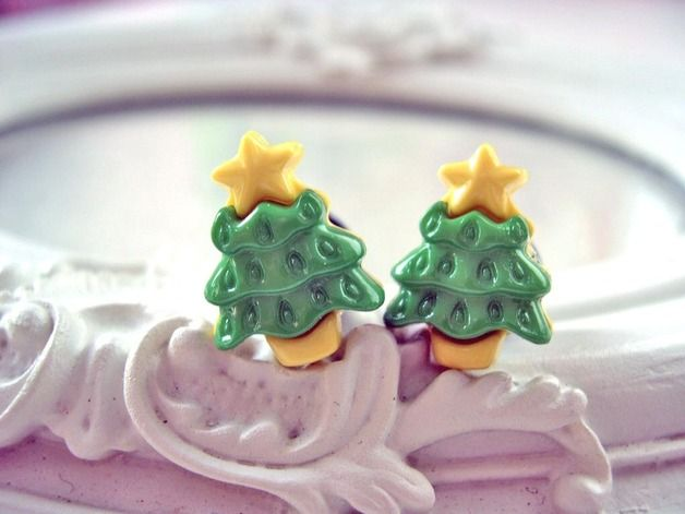 Stud Earrings – Christmas tree earrings green yellow – a unique product by dinafragola on DaWanda