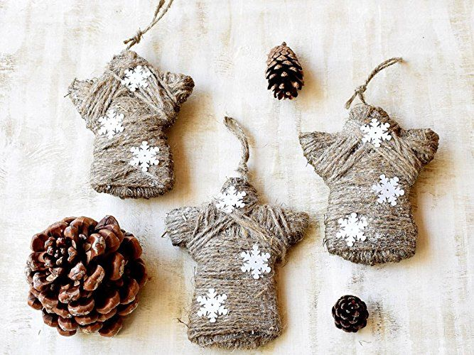 Christmas Angel ornaments Rustic Christmas Angels Christmas tree decor jute twine Xmas Decoration Christmas party favors Stocking stuffer Rustic decor Cottage decor Country decoration Set of 3