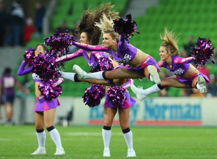 The Storm cheerleaders perform prior to the round 18 NRL match between the Melbourne Storm and the Canberra Raiders