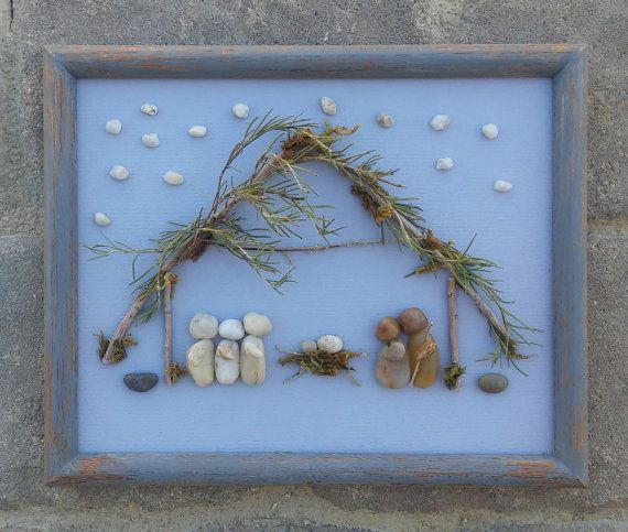 """Pebble Art NATIVITY (Mary, Joseph, Baby Jesus and The Three Wisemen) in an 8x10 """"open"""" frame"""
