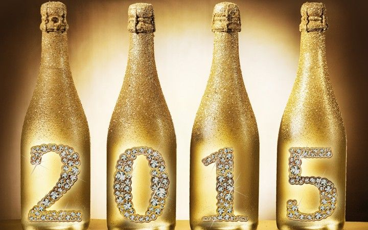Happy New Year 2015 Golden Champagne Bottle