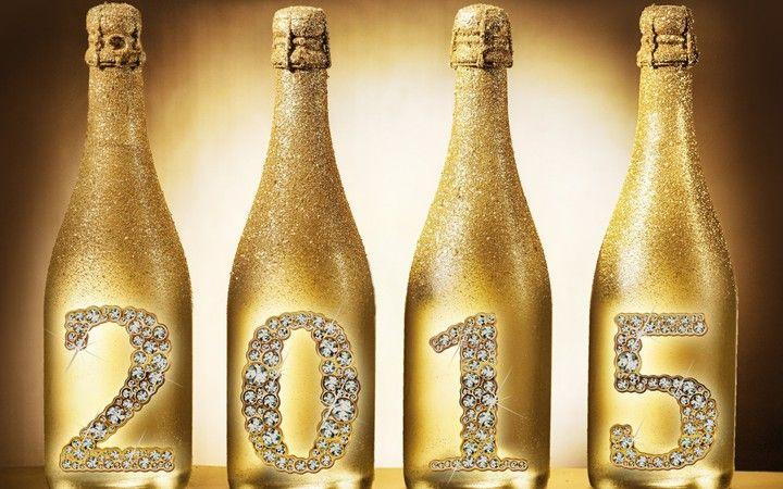 Happy New Year 2015 Golden Champagne Bottle