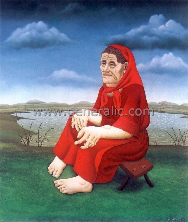 Old Gipsy woman, oil on glass, Ivan Generalic