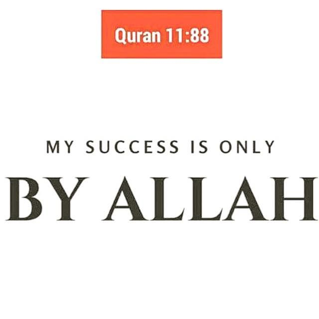 """And my success is not but through Allah . Upon him I have relied, and to Him I return."" - Quran 11:88"