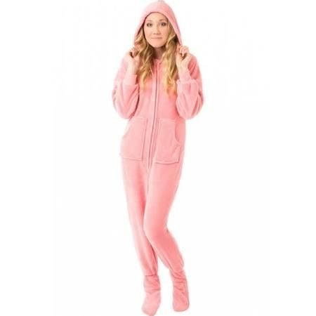 Women's Pink Plush Hooded Drop Seat Footed Pajamas (Small), Adult Unisex (Cotton) - Brought to you by Avarsha.com