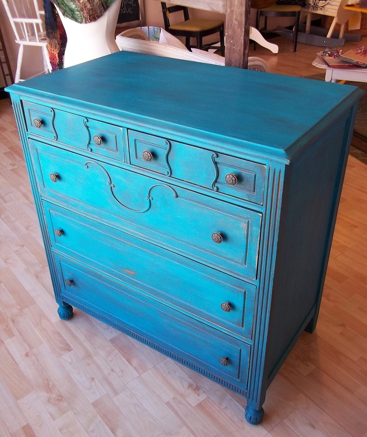Turquoise distressed dresser bestdressers 2017 for Pinterest painted furniture
