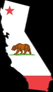 California flag and state outline