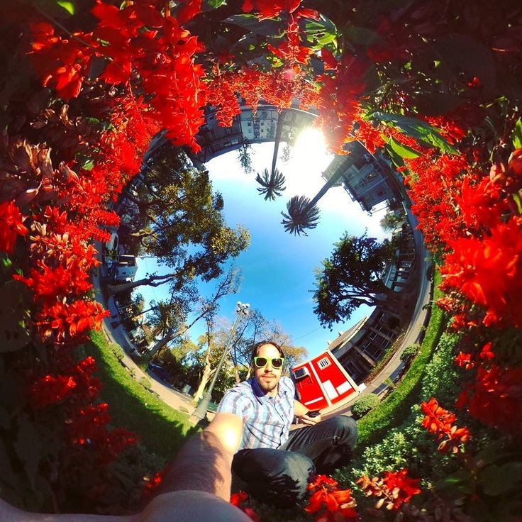 Red flowers around the #littleplanet #tinyplanet #rollworld #theta360 #theta360official #photoshpere #livingplanetapp #ricohtheta #360camera #smallworld #spherical #roundworlds #tinyplanetbuff #360panorama #360photography #ricohtheta360 #360 #virtualreality #webstapick
