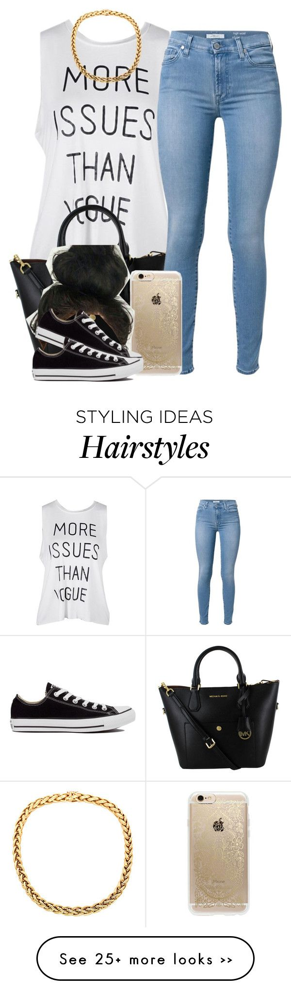 """."" by trillest-queen on Polyvore featuring 7 For All Mankind, Rifle Paper Co and Converse"