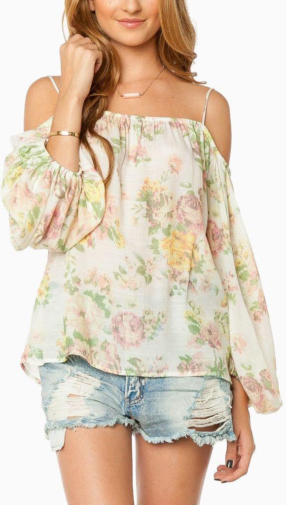 Off shoulder floral tip