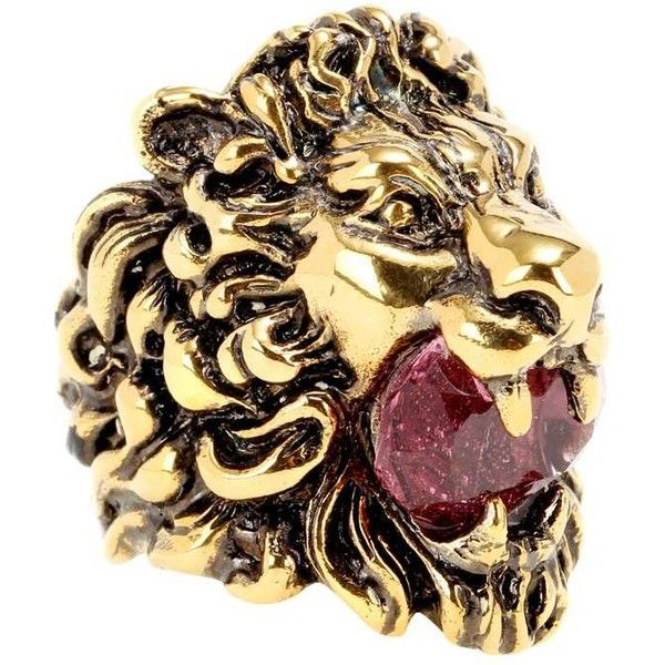 Embellished ring Gucci (€300) ❤ liked on Polyvore featuring jewelry, rings, gucci jewellery, lion ring, gucci ring, statement rings and antique gold jewelry