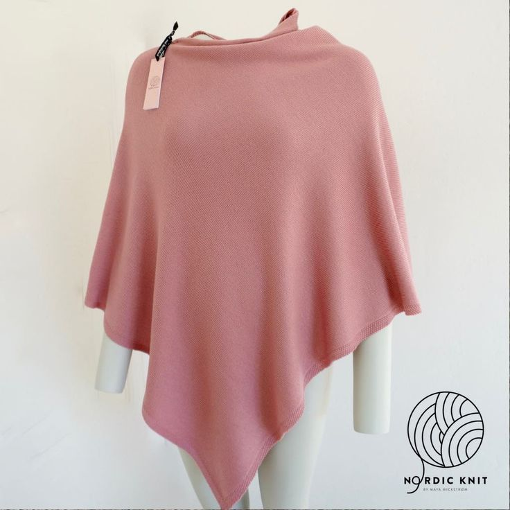 Poncho single knit jersey with edge of seed stitch. Large size by NordicKnit on Etsy