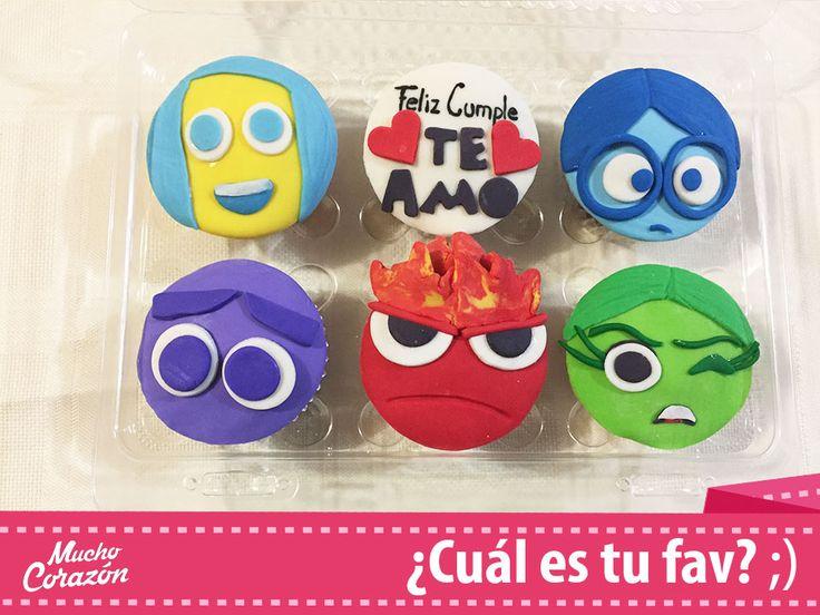 Los personajes de Intensamente hechos en cupcakes de fondant ♥  Alegría, Tristeza, Furia, Desagrado y Temor  #MuchoCorazón #ReposteríaCasera