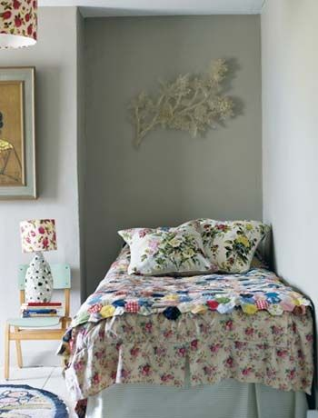 Beatiful modern vinatge bedroom - love the mix of patterns and fabrics in this whimsical bedroom. Featured in Modern Vintage Style by Emily Chalmers.