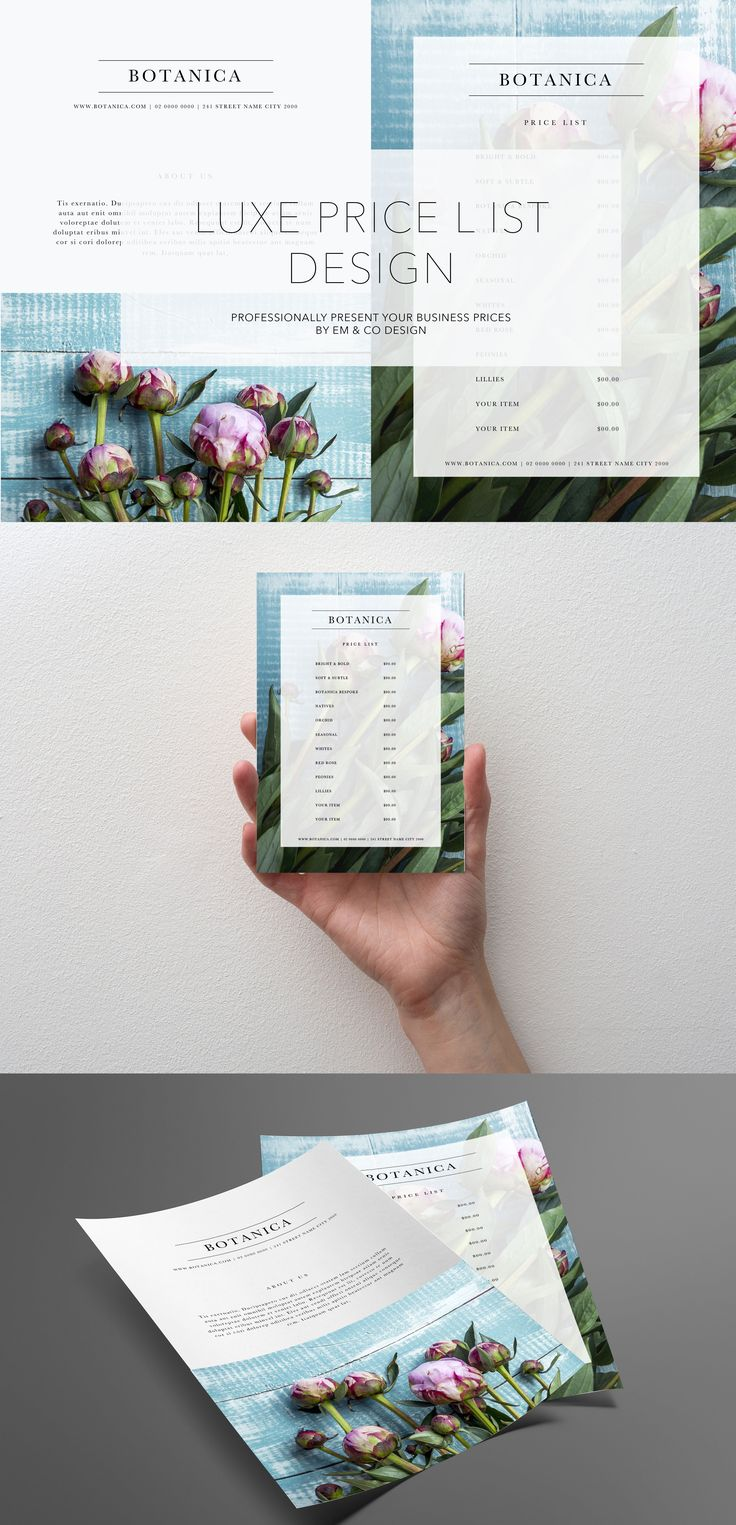 Price List Template - Bontanica  Available for purchase at https://www.etsy.com/au/shop/EmandCoDesign?ref=hdr_shop_menu  Business branding | Marketing templates | Price List Design