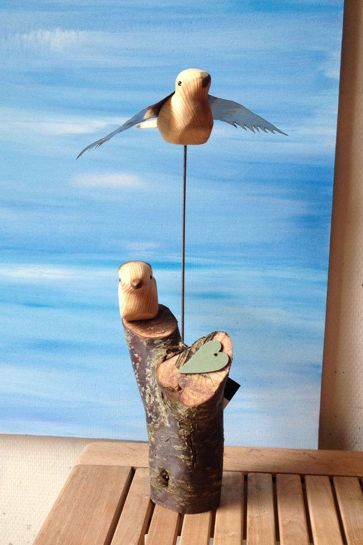 Skulptur, småfugle på træ. Direkte salg fra eget værksted, galleri, kunsthåndværk, Art Visten,