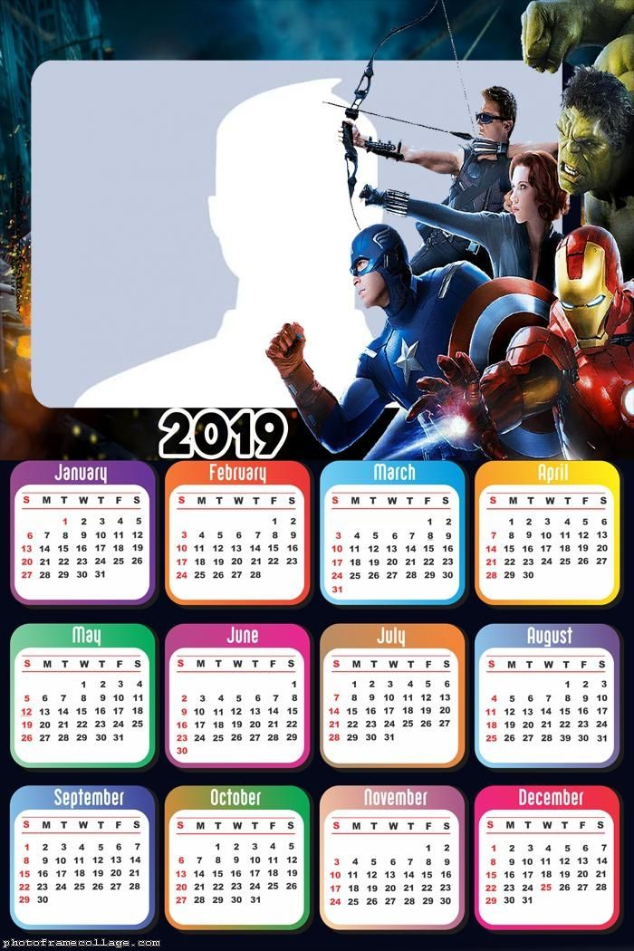 2019 Movie Calendar Avengers Movie Calendar 2019 Frame Photo Montage Free Online