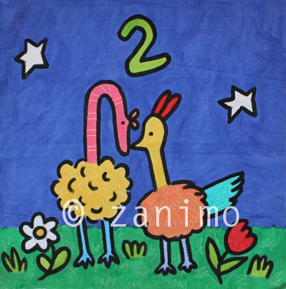 Two ostrich kissing under the moonlight  number wall art by Zanimo, $15.00