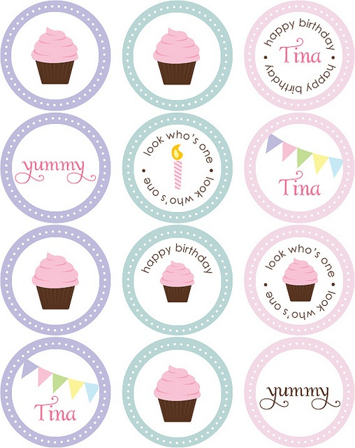 Cupcake Stickers Circle Tags Mad Birthday Ideas Party Cupcakes