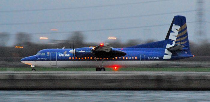 OO-VLO VLM Airlines Fokker 50 plane. http://www.airpowercarriers.org/vlm-airlines/oo-vlo-vlm-airlines-fokker-50.htm