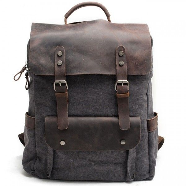 Cool! Vintage Large Laptop Thick Canvas Travel Rucksack Bag Splicing Leather Outdoor Backpacks just $54.99 from Atwish.com! I can't wait to get it!