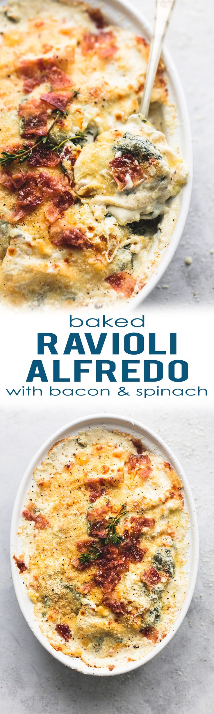 Learn how to make this easy Ravioli Alfredo Bake with Spinach & Bacon and the creamiest, cheesy parmesan alfredo sauce. | lecremedelacrumb.com