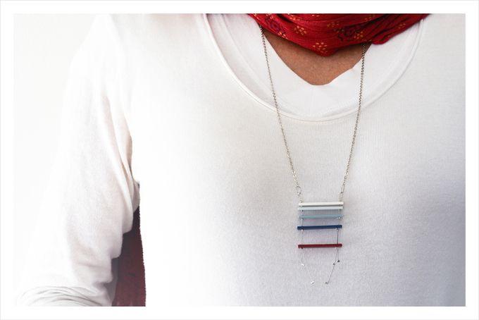 Minimalist gradient colour necklace in multi colours: harbour day blues by Doeksisters