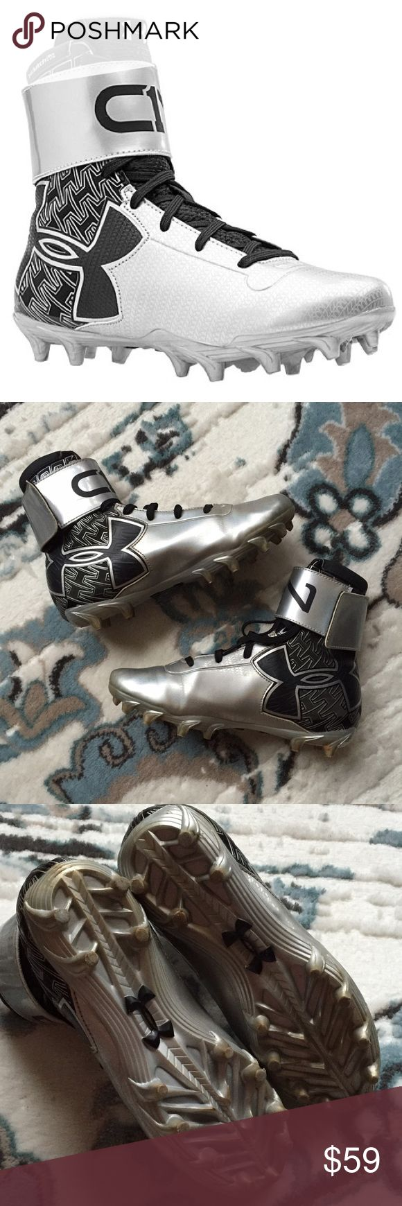 "Under Armour Cam Newton C1N Football Cleats 4.5Y Very good condition. Only worn a few times. Sold out style! Size 4.5Y.  UA ClutchFit is a ""second skin"" that molds to your body while you move, giving you powerful support & an incredible feel 3D-molded tongue gives you a custom fit for unrivaled comfort Foot-forming 4D Foam® footbed molds to foot for a locked in, comfortable, customized fit The C1N logo tells you this shoe signed, sealed, and certified by the most electric QB in the game: Cam…"