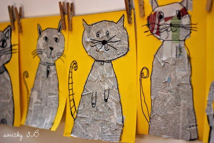U nás na kopečku: Kočičí novinová ...Kočičí inspirace. Natrhejte noviny, nalepte do patřičného tvaru a lihovým fixem nakreslete potřebné kontury a detaily. Toť vše.