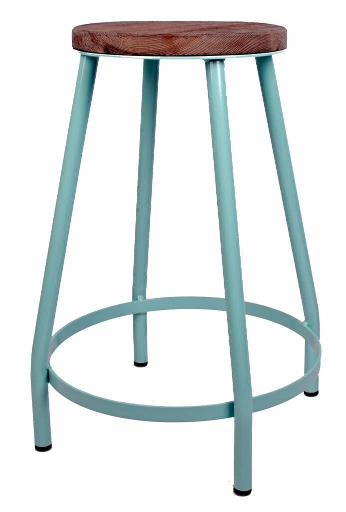Kitchen Trend Kruk met houten zitvlak, azur blauw