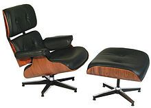 +Charles and Ray Eames +Lounge and ottoman +1956 +developed modern design and architecture and introduced lounge chari