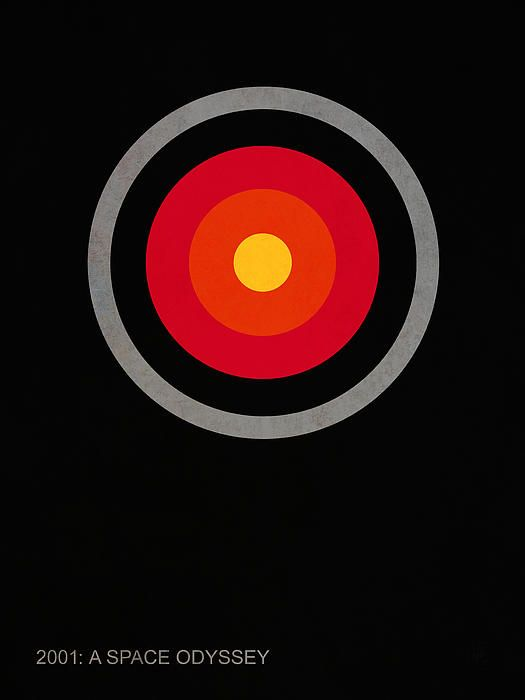This is a minimalist movie poster for the Stanley Kubrick film 2001: A Space Odyssey. The image depicts the red camera eye of HAL 9000; a sentient computer and the main antagonist in the film.