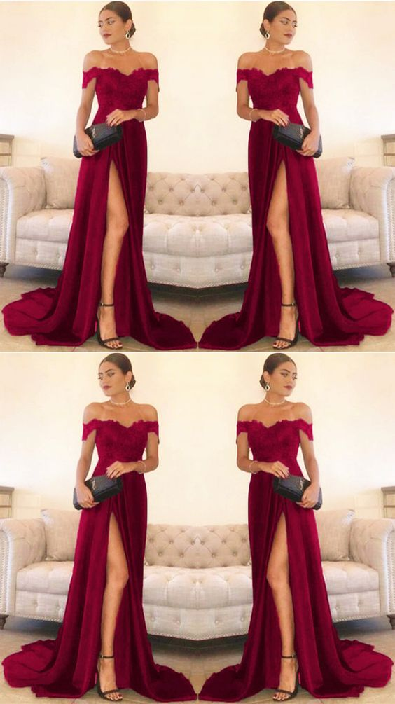 c7fa0ee1acb Sexy Leg Slit Long Satin Sweetheart Prom Dresses Lace Off The Shoulder  Evening Gowns M5026