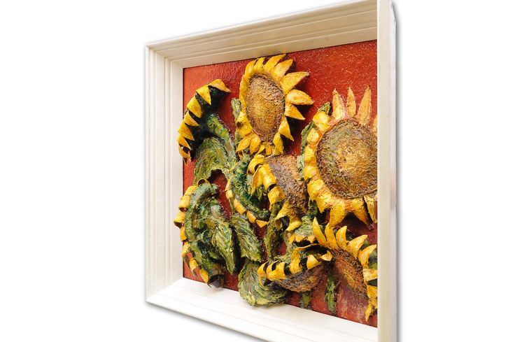 Finished sunflower painting. Right side view.