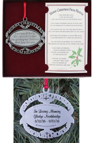 Personalized Merry Christmas from Heaven Memorial Ornament ...