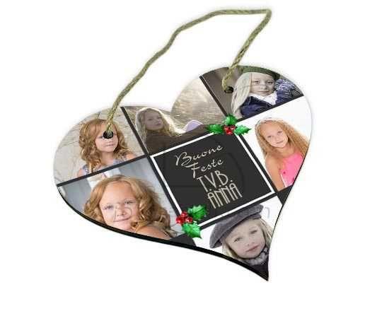 Il cuore con grafica collage natalizia
