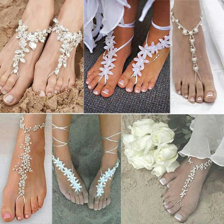 beach wedding, beach wedding shoes, foot jewelry, beach themed wedding shop wedding flowers and wedding decorations www.afloral.com