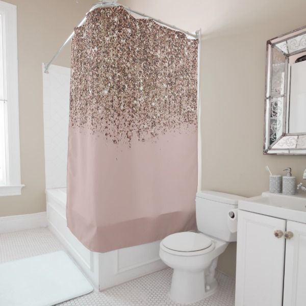 Taupe Blush Pink Rose Gold Bronze Glitter Glam Shower Curtain