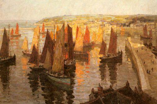 """Red And Gold Brixham"",  Terrick John Williams  (1860-1936)"