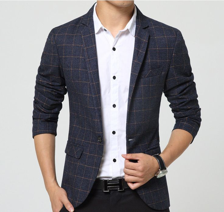 Men casual blazer Spring Mens Suits Blazer Single Button Men slim fit blazer Jacket men suit jacket The Checked Blazer