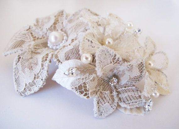 Bridal handmade antique lace flower comb £62 by LucyFisherDesigns