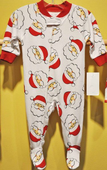Santa print footed pajama 6 months to 24 months at cassie s closet