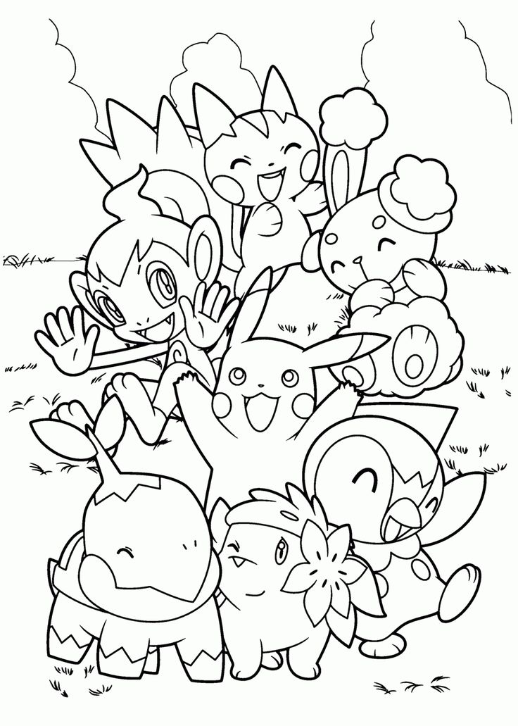 Pokemon Characters Anime Coloring Pages For Kids Printable Free Birthday