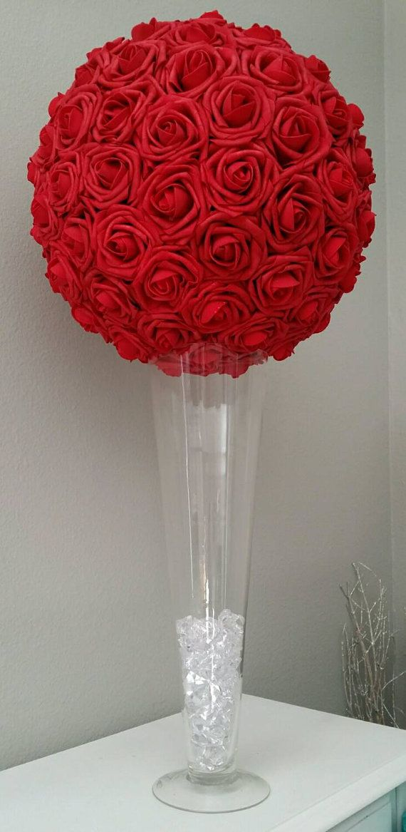 Red rose ball quot approx real touch roses flower