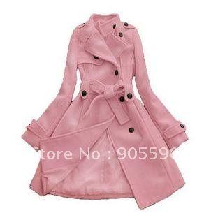 Envío gratuito de abrigo de las mujeres romaníes doble botonadura abrigo de invierno/chaqueta con cintura 4