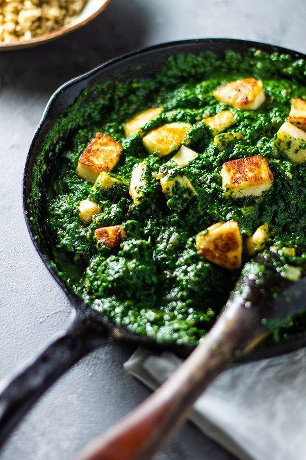 Halloumi Saag Paneer Lean Green Nutrition Fiend Recipe Saag Paneer Paneer Halloumi Recipes Vegetarian