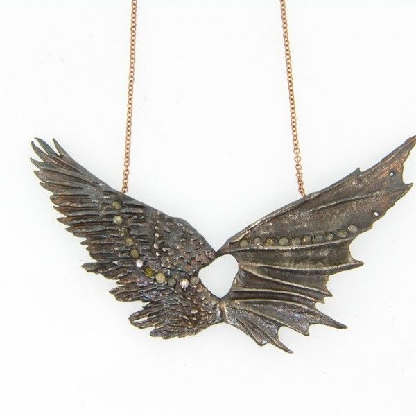 Silver Spread Angel and Devil Wings Necklace atelierminyon.com ($1,950) ❤ liked on Polyvore featuring jewelry, necklaces, wing jewelry, silver wing necklace, wing necklace, silver jewelry and silver necklace